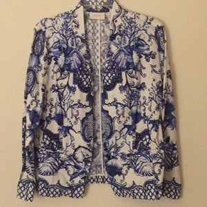 🧥Chico's Blue & White Print Linen Jacket - Size 1